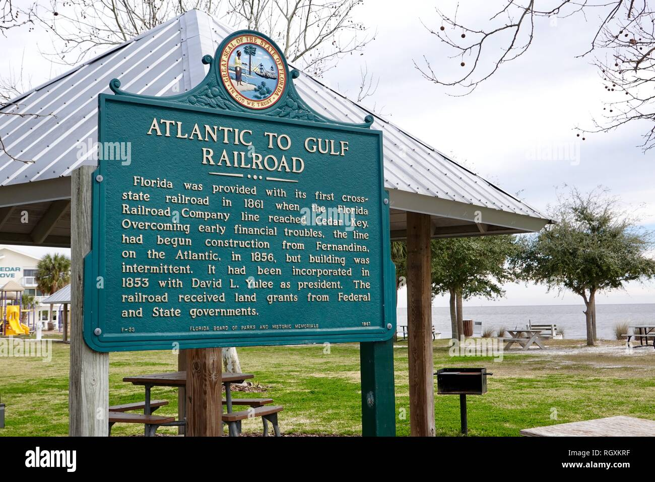 Atlantic to Gulf Railroad, Florida Board of Parks and Historic Memorials, sign detailing the old cross-state railroad to Cedar Key, Florida, USA. Stock Photo