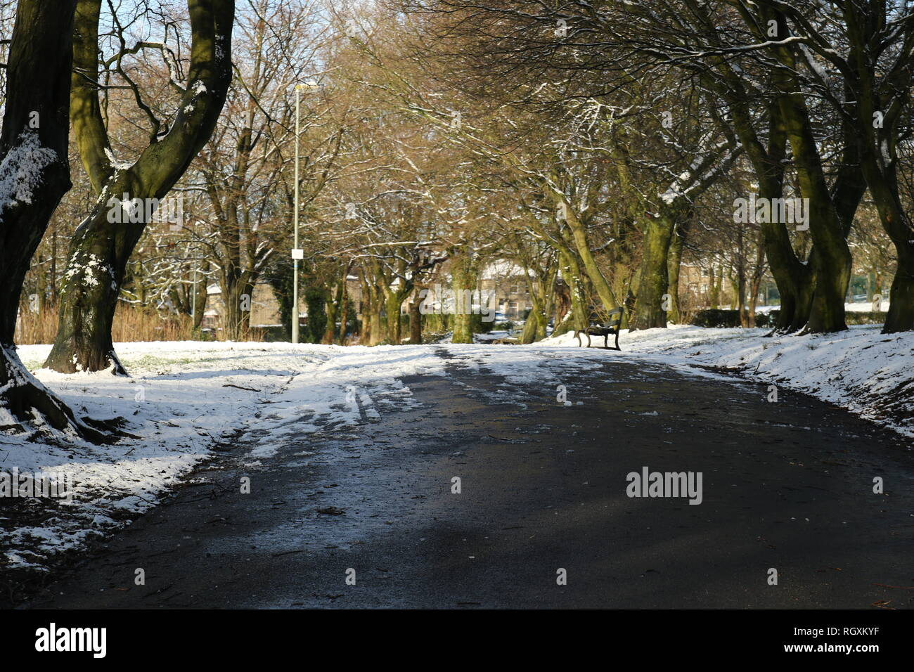 30/01/19 Edgeside Park, Waterfoot, Rossendale after a night of snow fall. - Stock Image