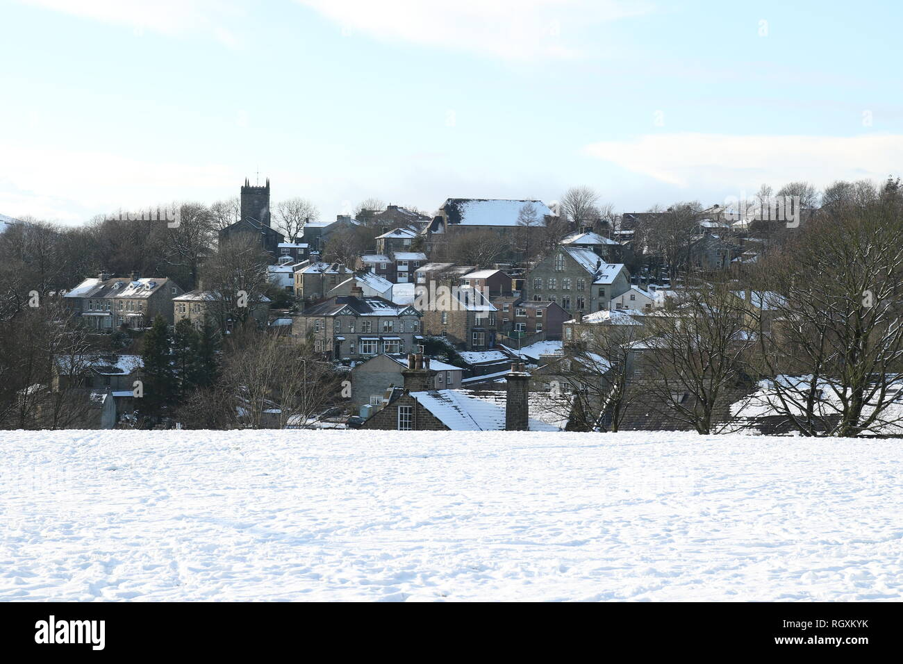 30/01/2019 This is the beautiful view of Water Village after a night of snow taken from Edgeside Park, Waterfoot, Rossendale, Lancashire UK - Stock Image