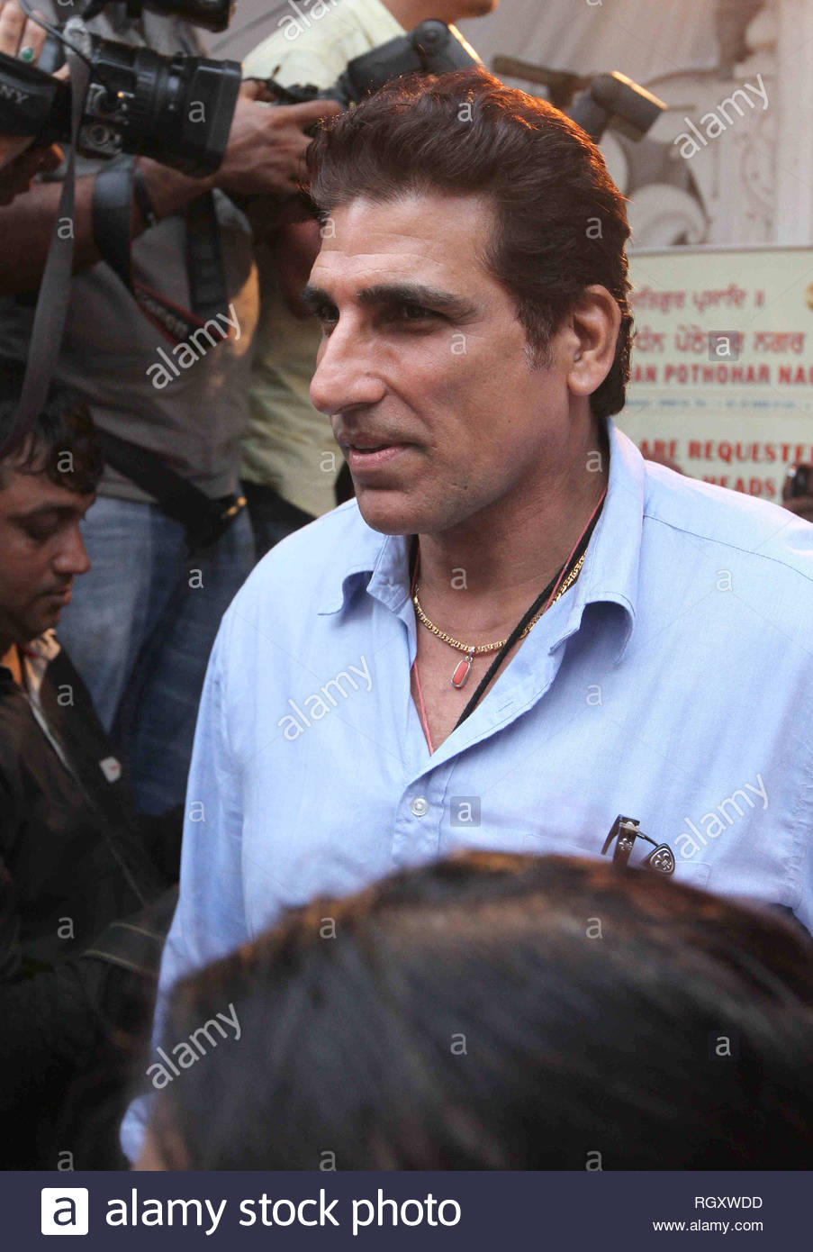 Bollywood actor Mukesh Rishi during the prayer meeting of late actor Pran in Mumbai, India on July 15, 2013. (Shailesh Andrade) - Stock Image