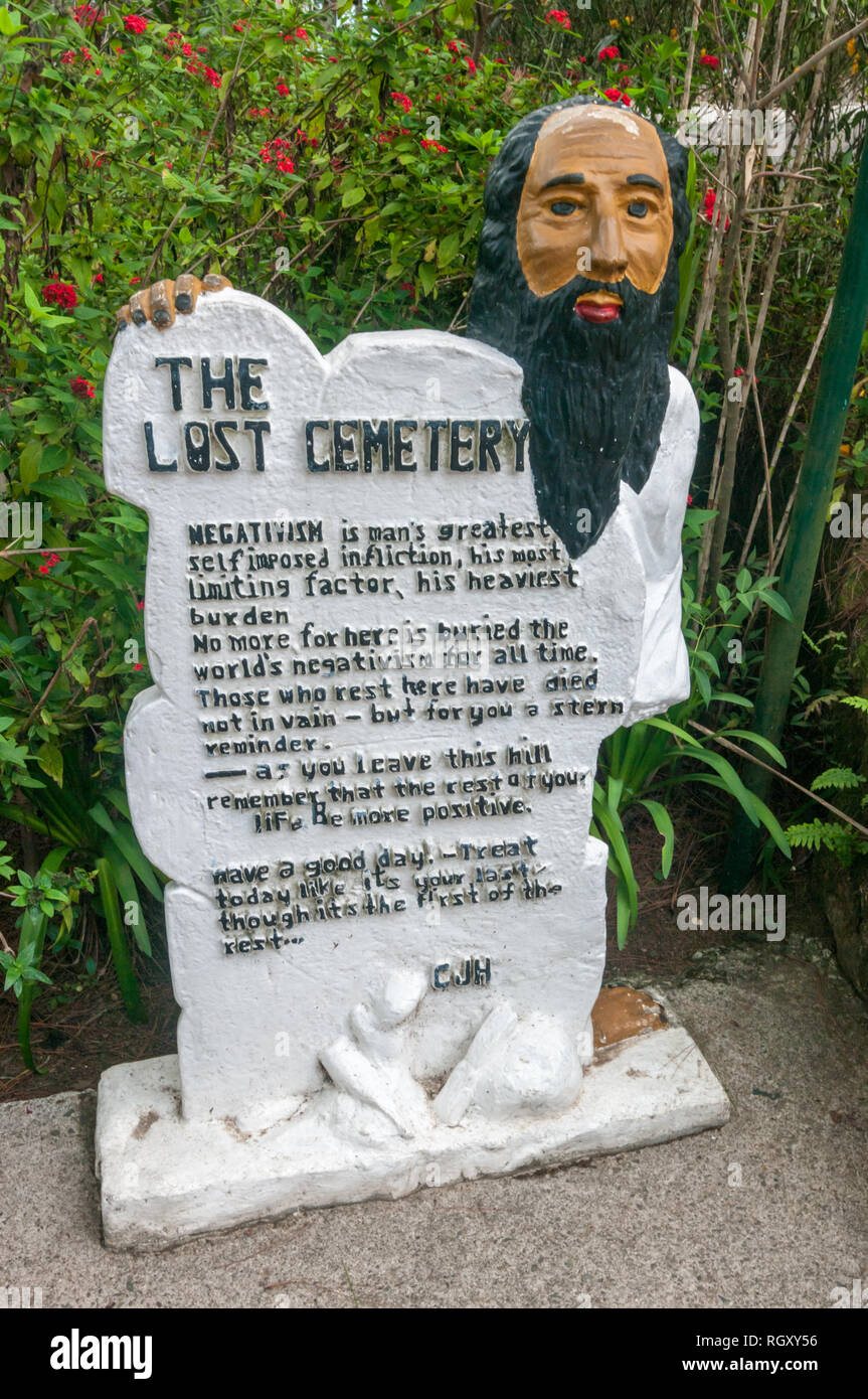 The Lost Cemetery or Cemetery of Negativity at Camp John Hay in Baguio City, Philippines, which contains a wealth of witty words of wisdom. - Stock Image