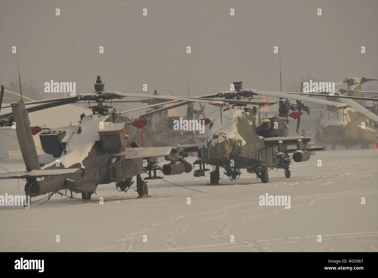 Apache and Chinook helicopters from 12th Combat Aviation