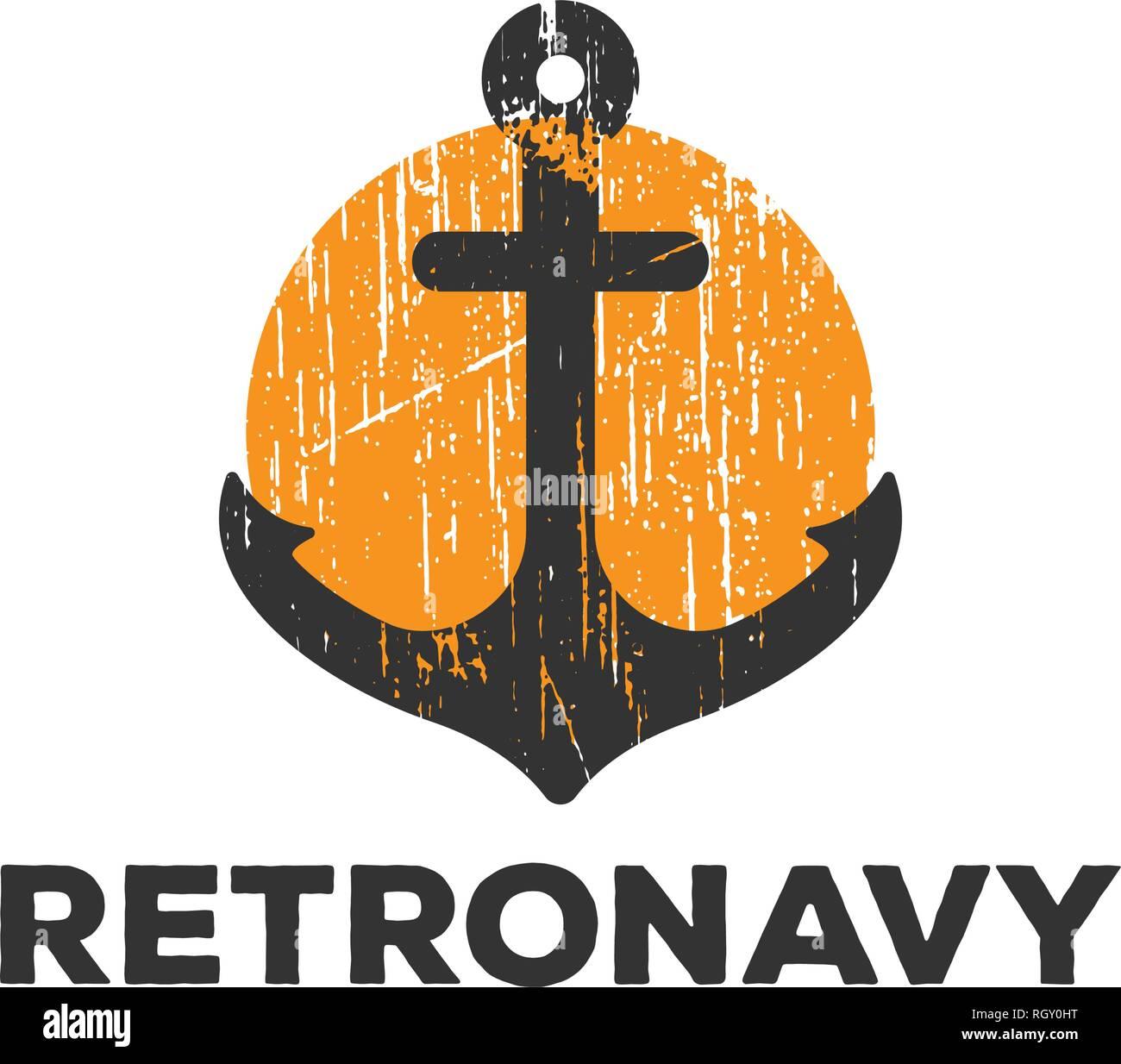 Retro anchor navy logo icon design template vector illustration - Stock Image