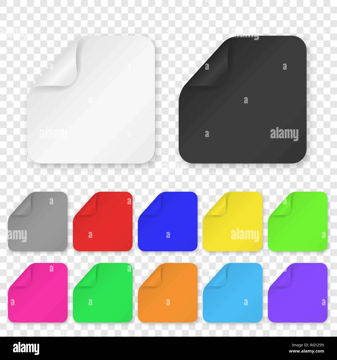 Vector Realistic 3d Square Adhesive Colored Blank Paper