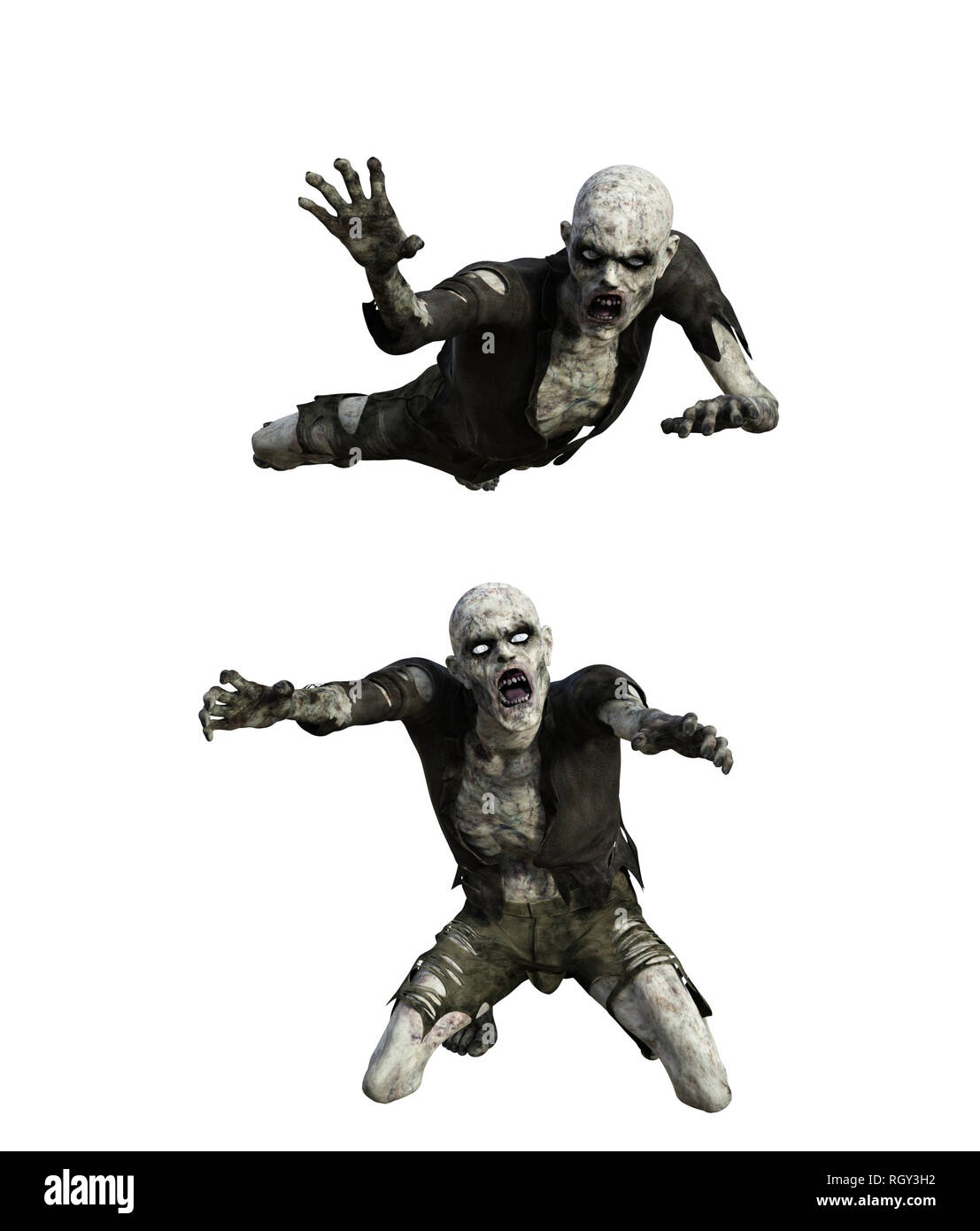 Scary zombie isolated on white background,3d rendering - Stock Image