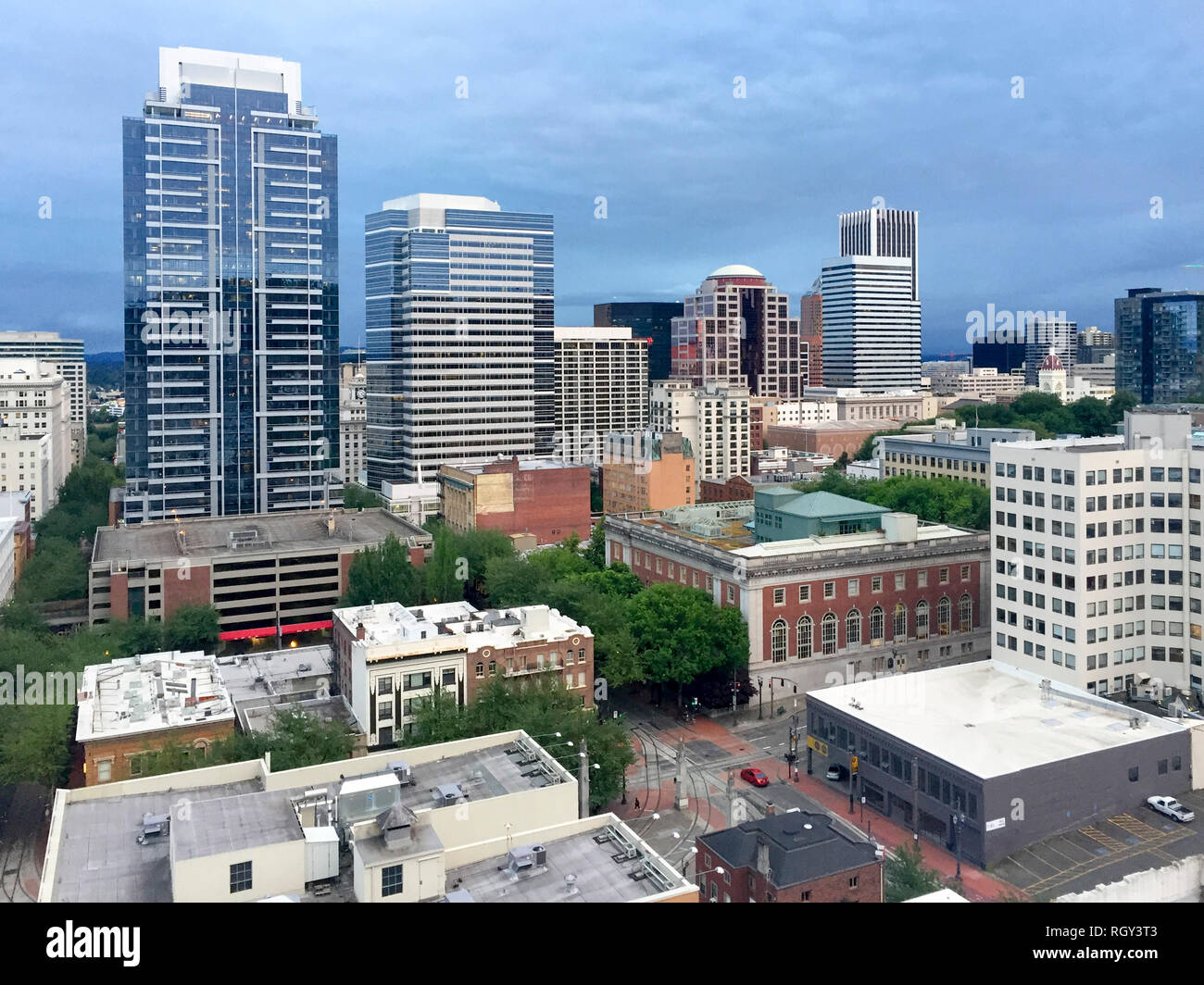 Downtown Portland Oregon aerial view from above Stock Photo