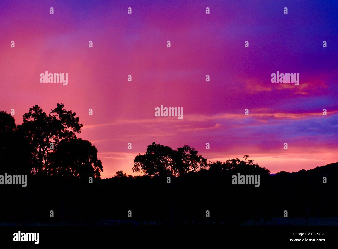 Purple and magenta sunset in outback - Stock Image