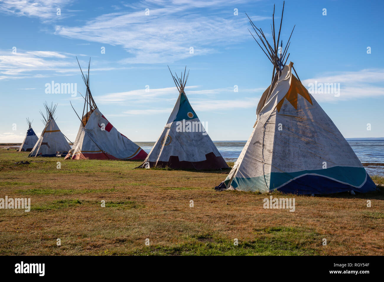 Gesgapegiag Quebec Canada - October 5 2018 North American Indians Teepee near & North American Indians Stock Photos u0026 North American Indians Stock ...