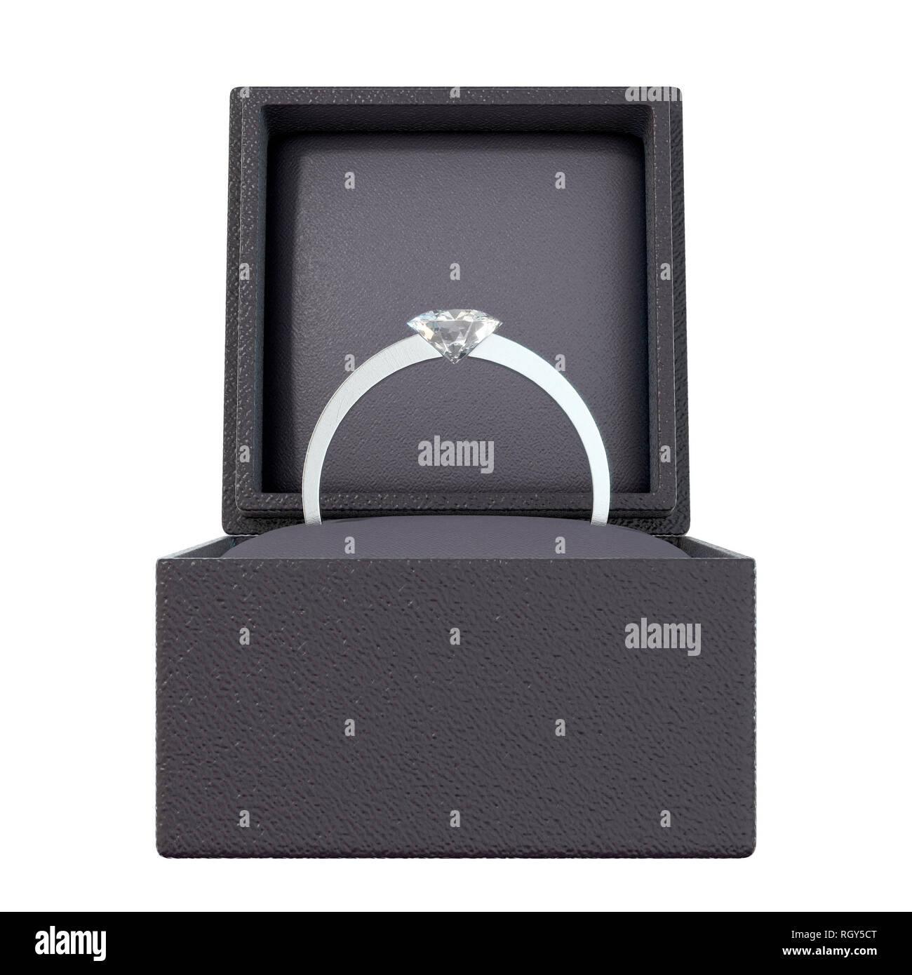 An open cube shaped black ring box with a silver engagement ring and large cut diamond on an isolated white background - 3D render - Stock Image