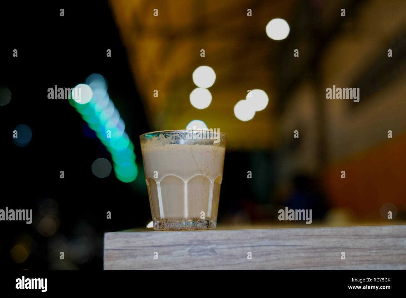 Coffee time with nice bokeh light view at the background - Stock Image