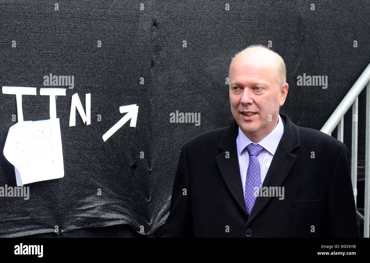 Chris Grayling MP (Conservative: Epsom and Ewell), Transport Secretary, on College Green, Westminster, Jan 2019 - Stock Image