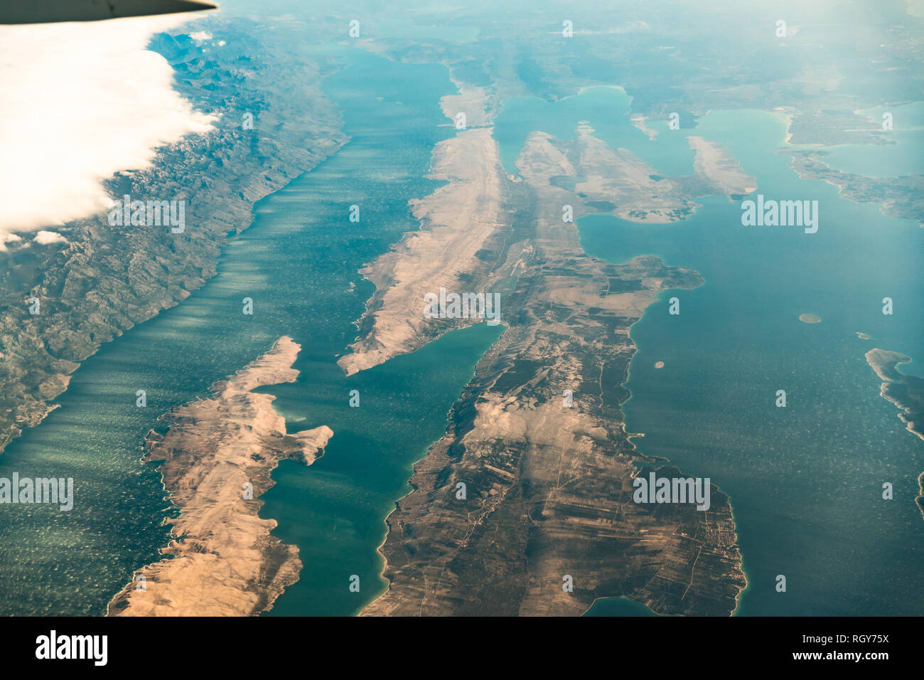Croatia. Aerial View Of Island Pag In Adriatic Sea From Window Of Plane. Stock Photo