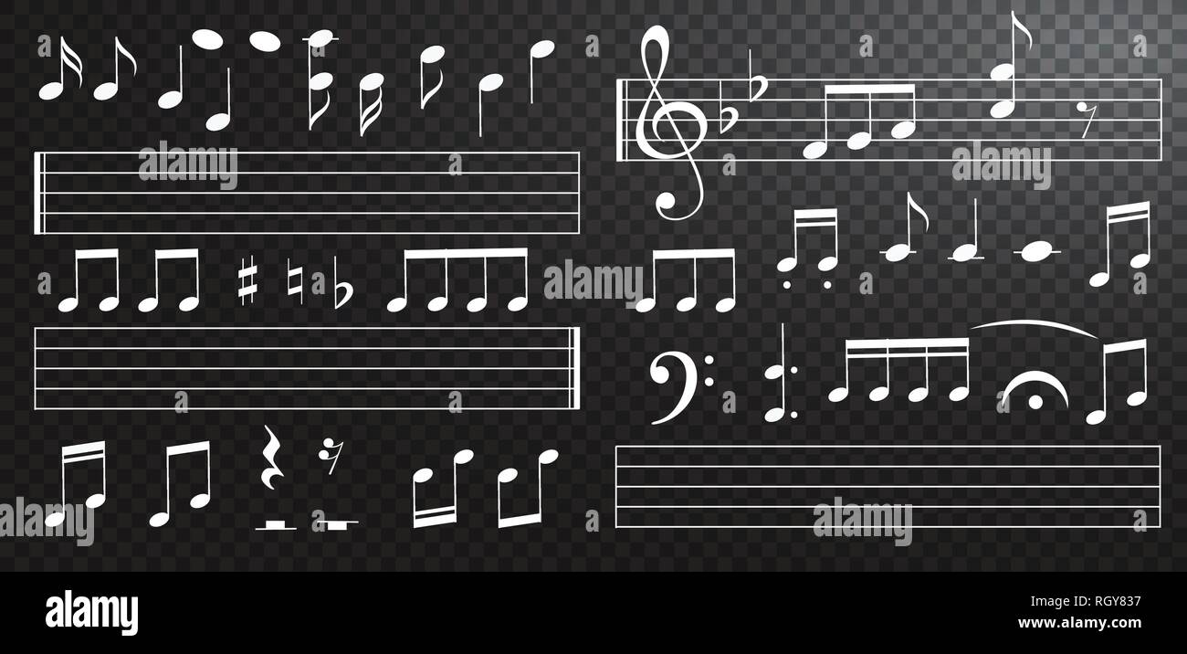 Music notes and keys on black background  Piano keys  Treble clef