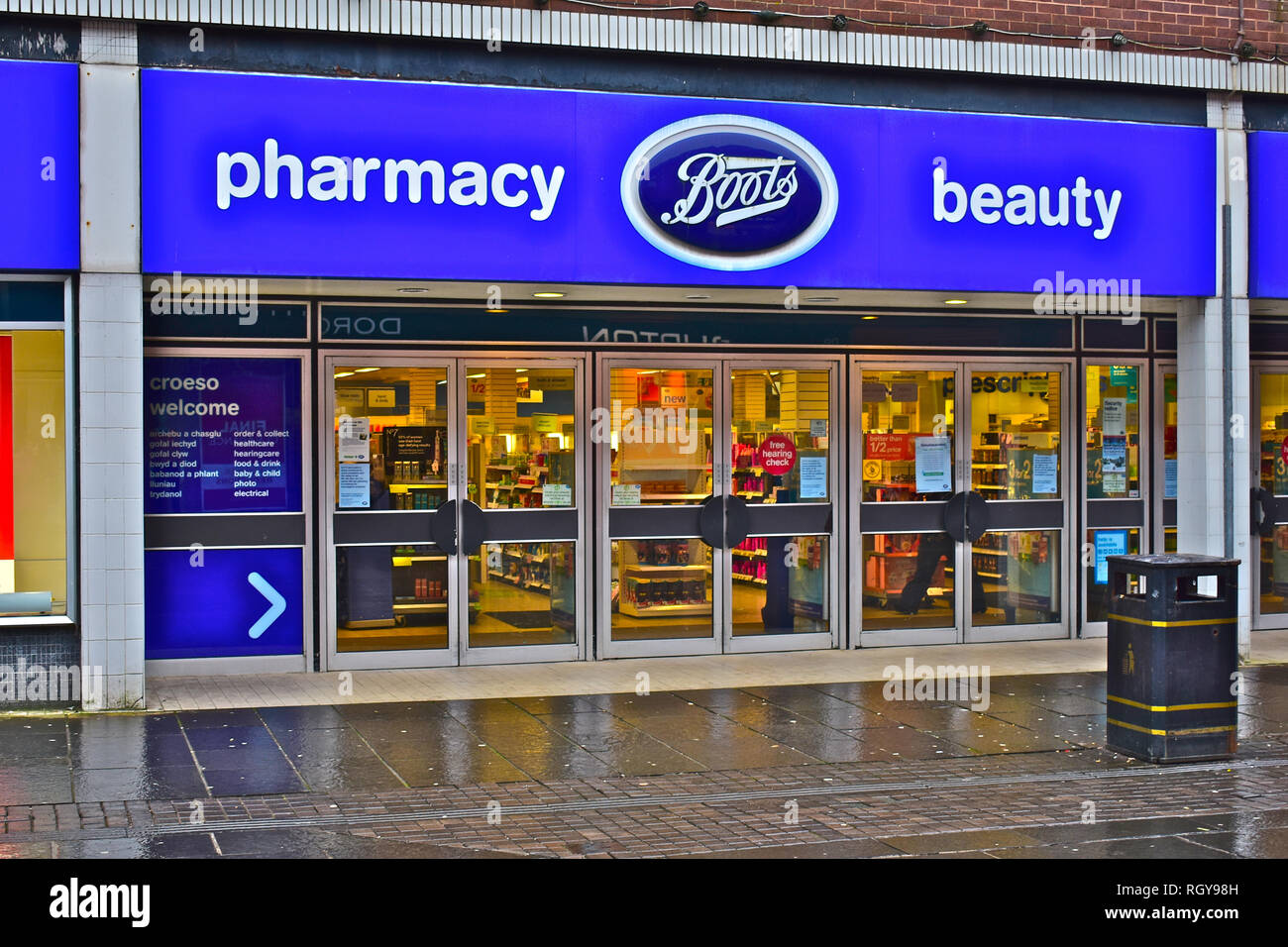 The Caroline Street Branch of Boots the Chemists in the Town Centre, Bridgend, S.Wales UK - Stock Image
