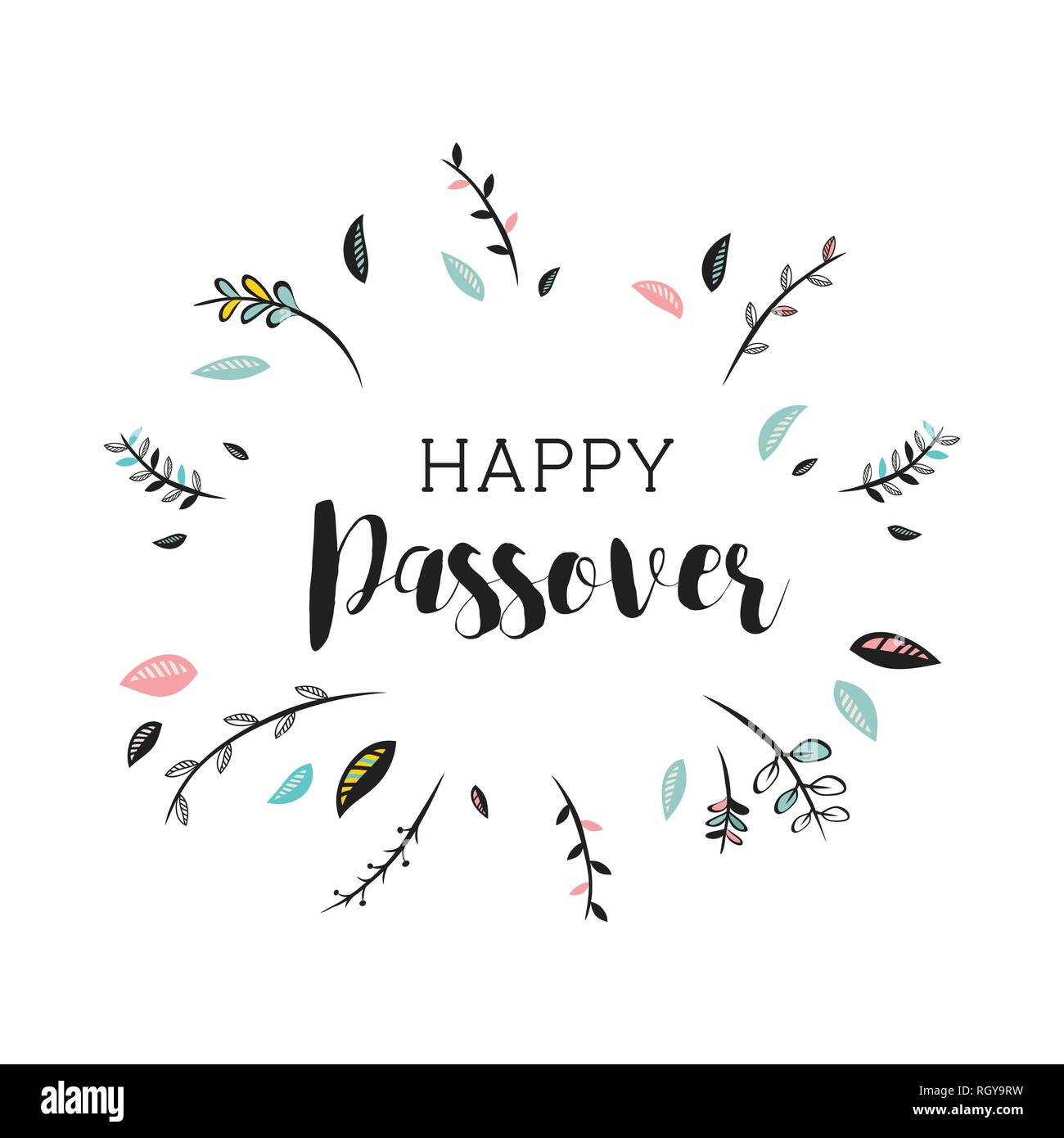 cute happy passover card with floral decoration. vector illustration Stock Vector
