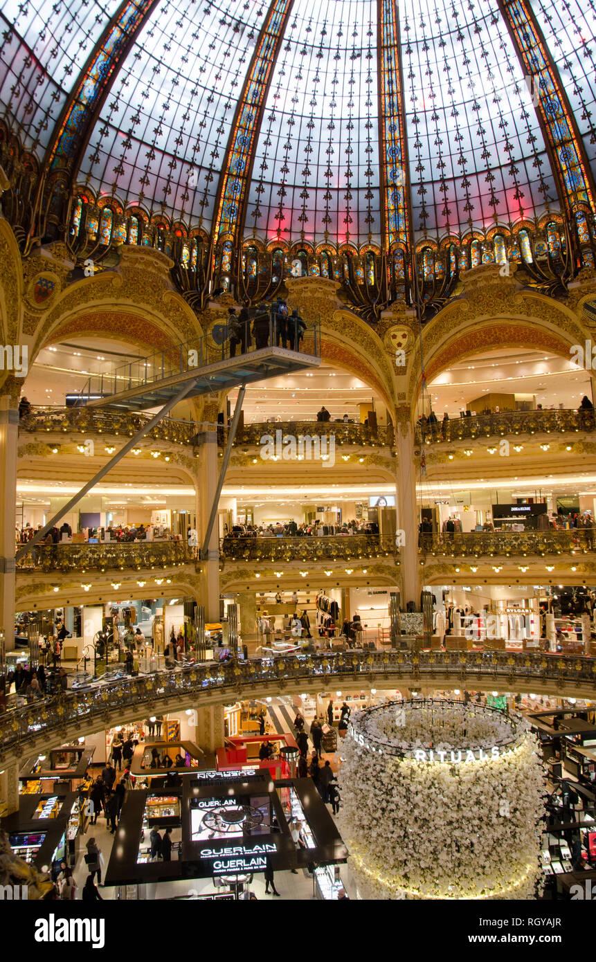 Galeries Lafayette flagship store. Paris, January 27th, 2019 Stock Photo