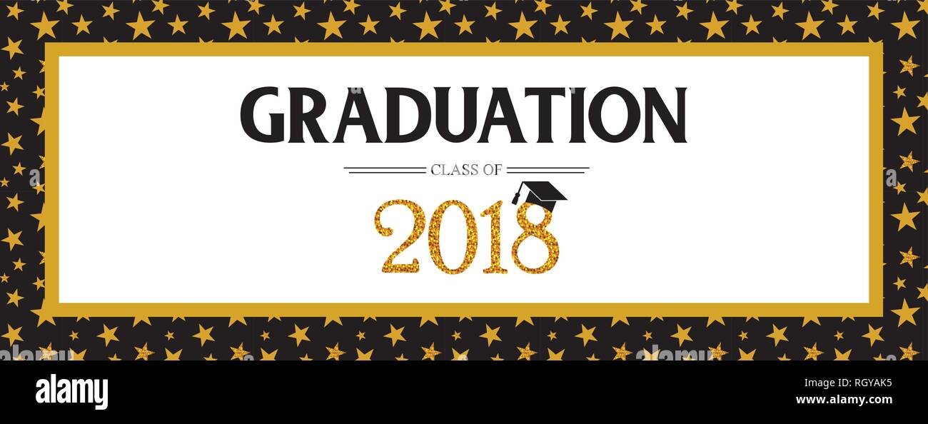 Graduation Class Of 2018 Greeting Card And Invitation Template