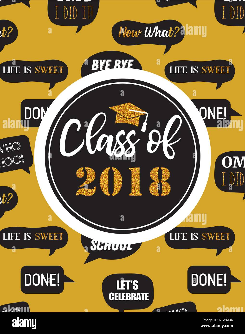 Graduation Class of 2018, party invitation, poster or banner template. vector illustration - Stock Image