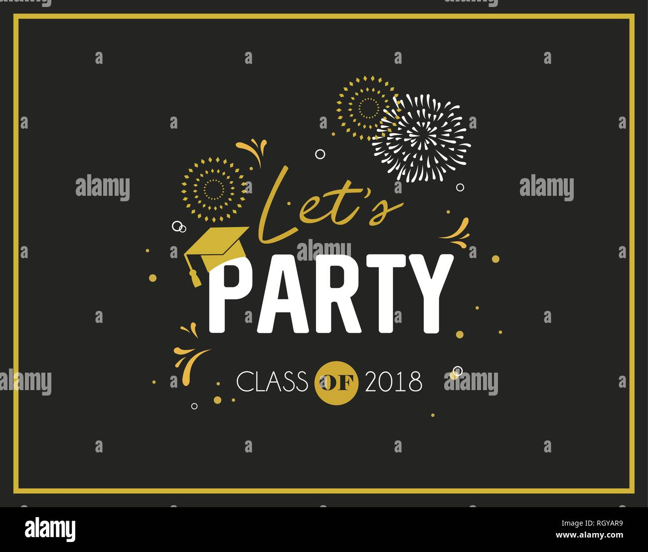 Graduation Class of 2018 greeting card and invitation template. Vector party invitation. Grad poster. vector illustration Stock Vector