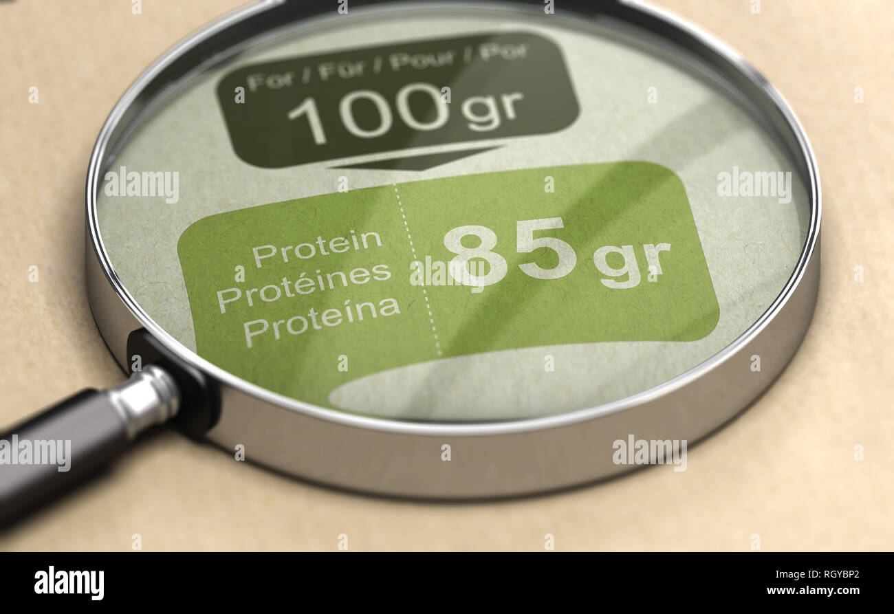 3d illustration of a magnifying glass over protein label. High-protein diet concept. - Stock Image
