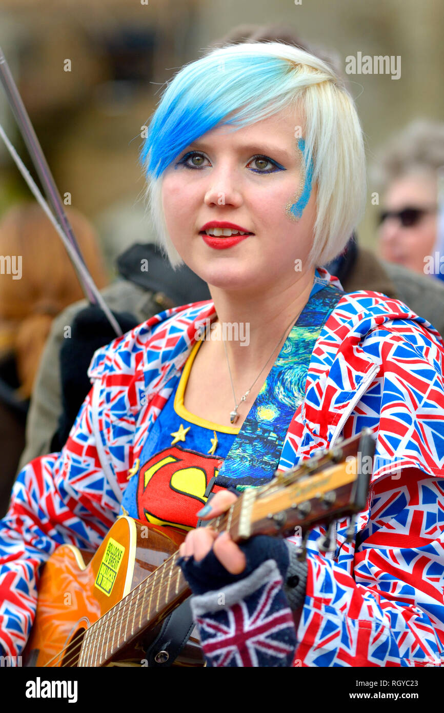 Madeleina Kay - Young European of the Year / 'EU' Supergirl - campaigning against Brexit outside Parliament, Jan 29th 2019 - Stock Image