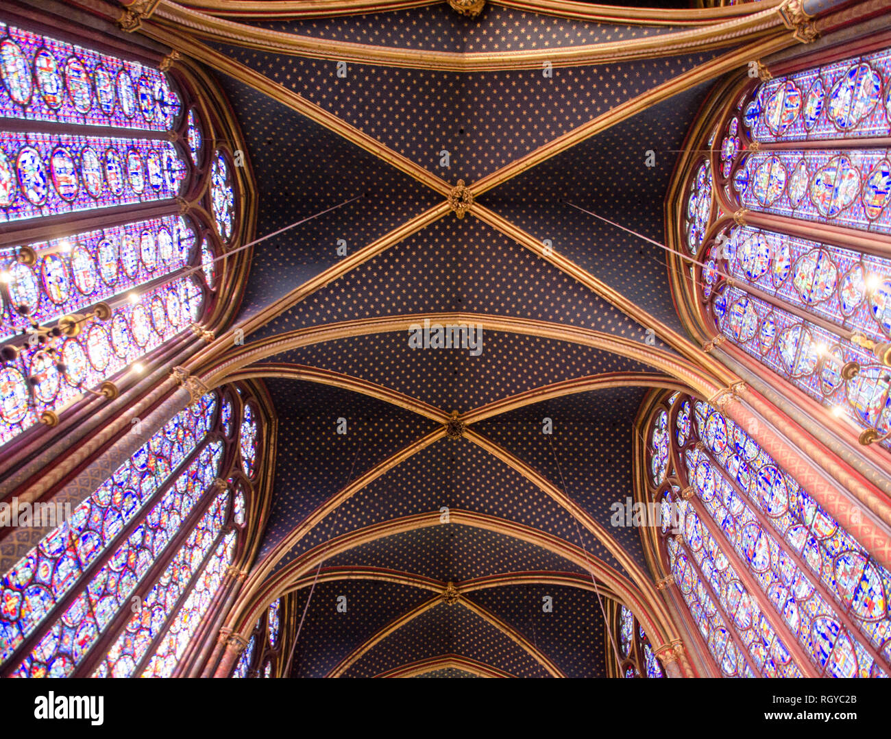 Inside Sainte-Chapelle, the royal chapel in the Gothic style consecrated in 1248. Paris, January 29th, 2019 Stock Photo