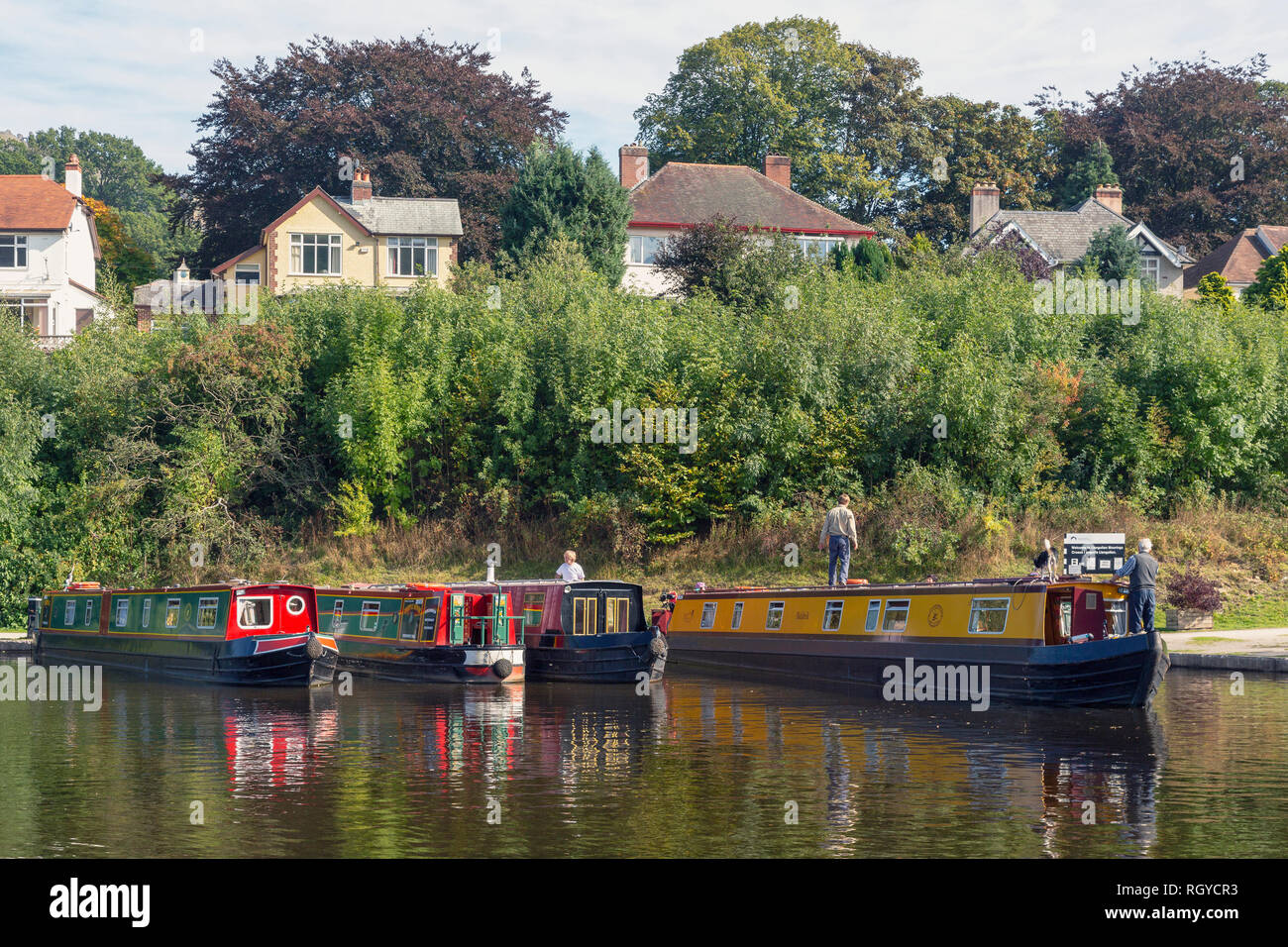 Llangollen, Denbighshire, Wales, United Kingdom.  Boats at the Llangollen Moorings.  These craft, known as narrowboats, were designed specifically for - Stock Image