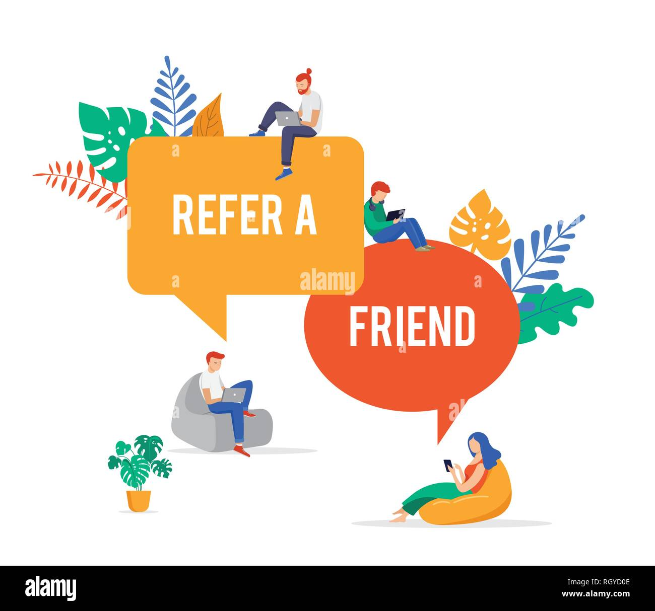 Refer a friend illustration. Big megaphone with a team work. Concept media for landing page, template, ui, website - Stock Image