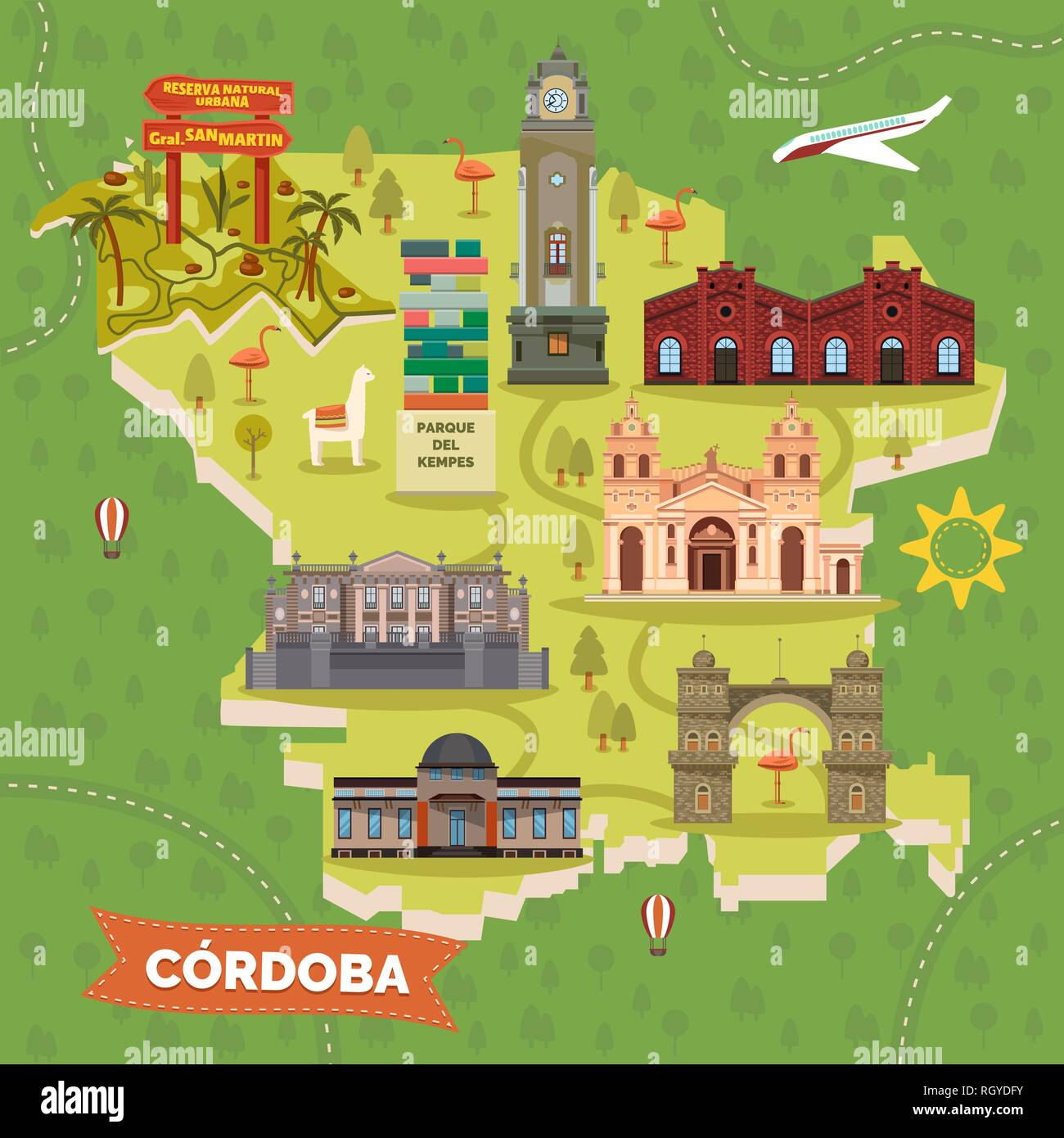 Argentina Cordoba map with sightseeing landmarks - Stock Vector