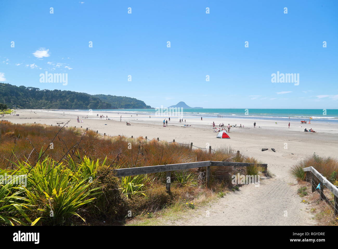 Swimmers and water sport fans enjoy themselves at Whakatane beach, New Zealand - Stock Image