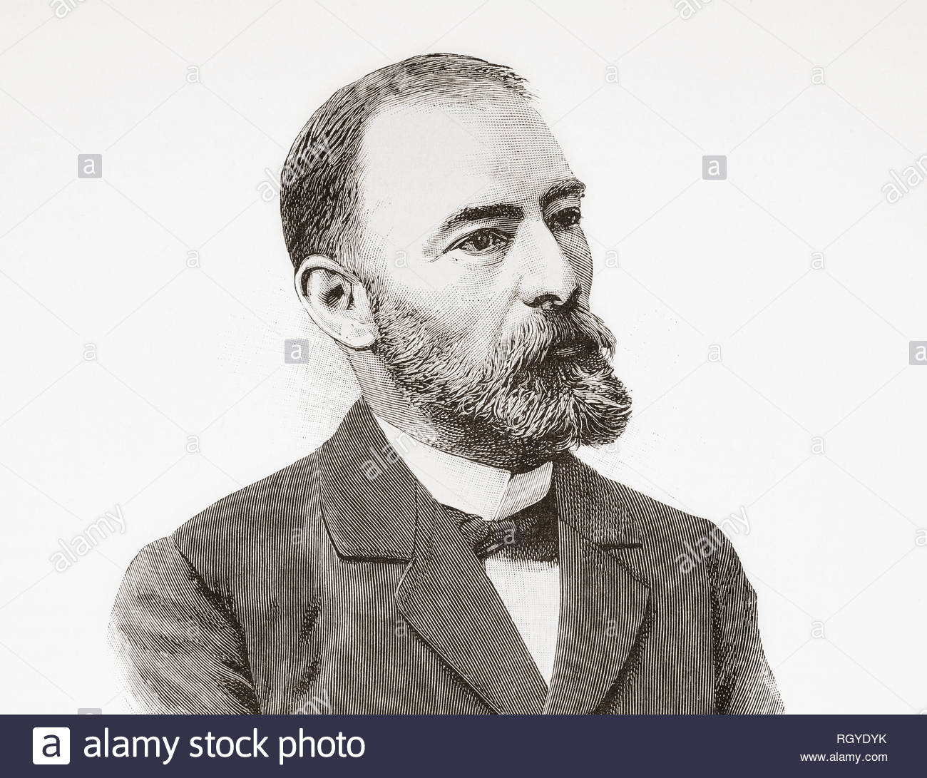 Alejandro San Martin y Satrustegui, 1847- 1908. Spanish physician and politician, Minister of Public Instruction and Fine Arts during the reign of Alfonso XIII.  From La Ilustracion Espanola y Americana, published 1892. - Stock Image