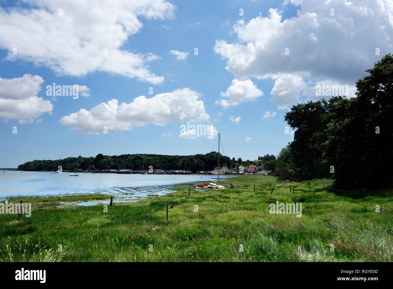 View towards Pin Mill on the river Orwell - Stock Image
