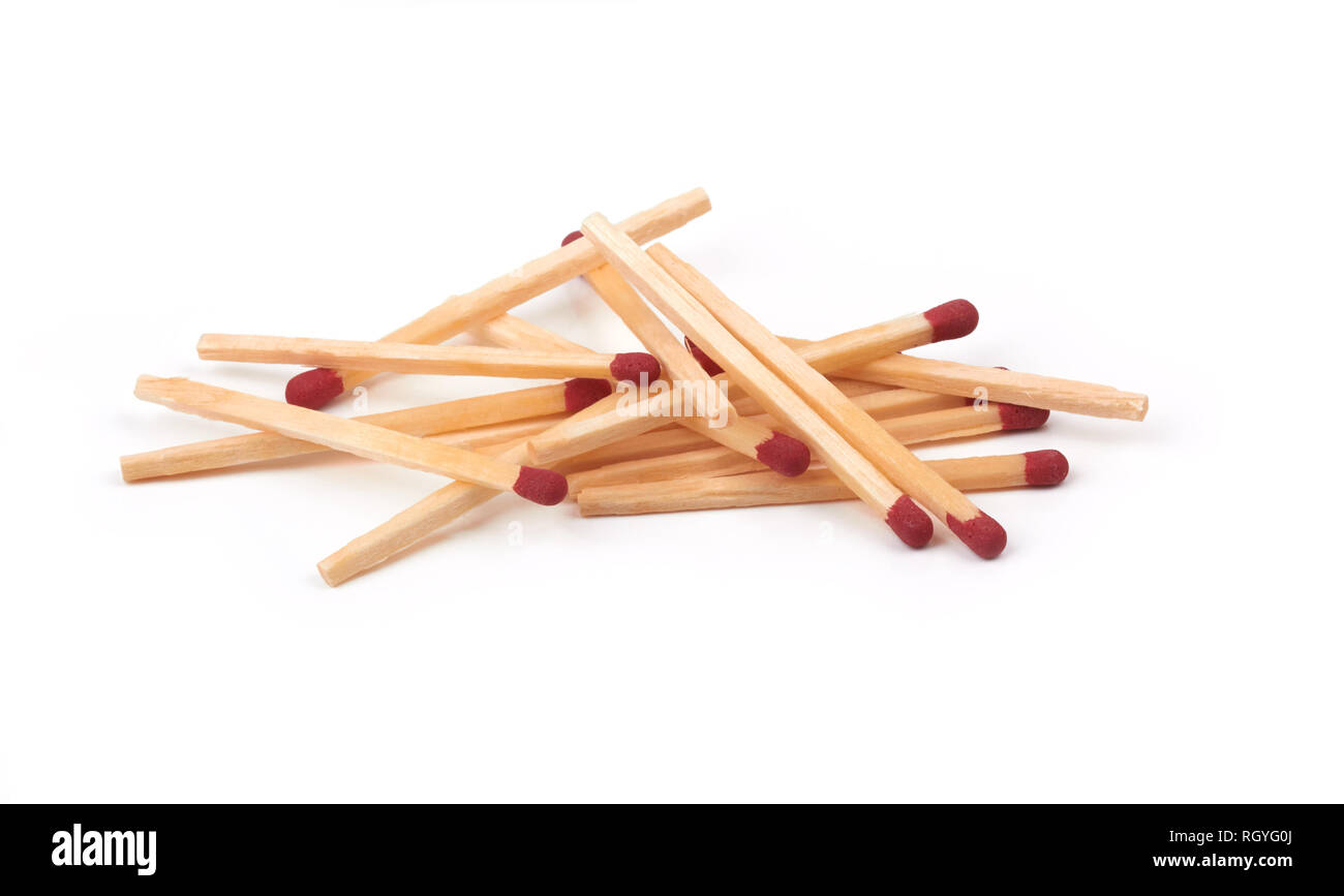 bunch of matches isolated on a whine background - Stock Image