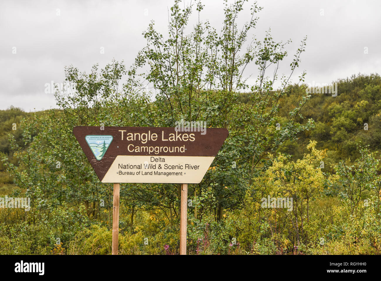 Sign for Tangle Lake Campground, BLM property and management, near the Paxson end of the Denali Highway, Alaska, USA. - Stock Image