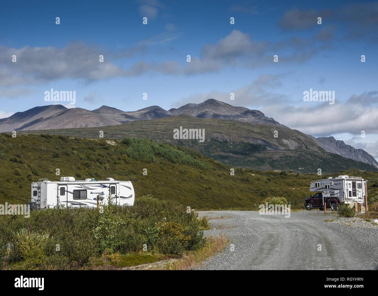 Camping at the BLM campground at Tangle Lake on the Denali Highway, Alaska, USA - Stock Image