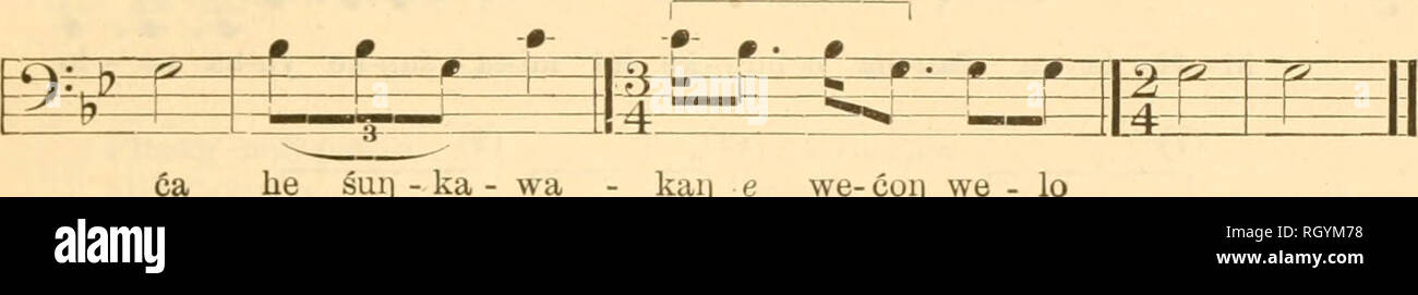 ". Bulletin. Ethnology. DEN^MORE] TETON SIOUX MUSIC 507 No. 229. ""I Donated a Horse"" (Catalogue No. 579) Sung by Shooter Voice J=i80 Drum J = 80 Drum-rhythm similar to No. 5 ±-. ^^ W=^ -#-#- -»-^ -^ •- p=*=^ £ P P ^ '(2- 1 1 1 to i 1 *— F *-S- -Zsil ^1 ^—1 -s-j*—r—r—f— .^ b'::g_L -i4_U—L-J— Pte-sar)-iioij-pa - wii] ko:] bli - hi-ca ye ya e - ha he suij - ka - wa - kaij e we- coij we - lo Pi. Ptesari^-nog^pawiq Two White Buffalo kog blihe'i^iya' ye take courage eha^pi ca you said this he hence sugka^wakag a horse we'cog welo'' I donated Aymlysis.—This, as well as the next preceding so - Stock Image"