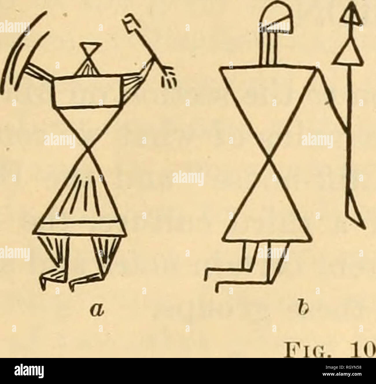 . Bulletin. Ethnology. KIDDER-GUERNSEY] ARCHEOLOGICAL EXPLOEATTONS IN ARIZONA 199 Of quite different style, but surely recent and probably also made by the Navaho, are the strange creatures reproduced in figure 102. Some of these are incised, some drawn in charcoal. They presumably depict dance characters or mythical personages, but we were unable. Please note that these images are extracted from scanned page images that may have been digitally enhanced for readability - coloration and appearance of these illustrations may not perfectly resemble the original work.. Smithsonian Institution. Bur - Stock Image