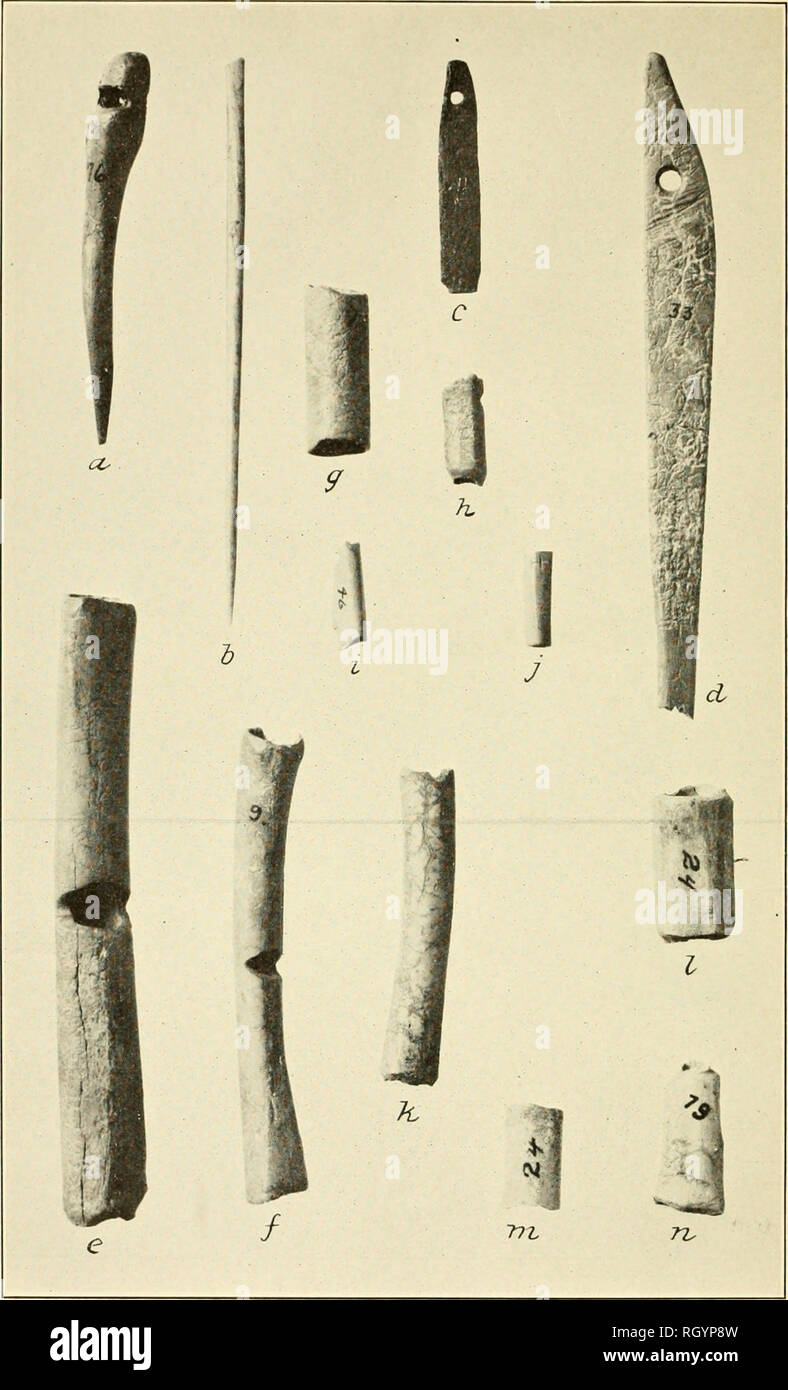 BUREAU OF AMERICAN ETHNOLOGY BULLETIN 92 PLATE 25 BONE IMPLEMENTS NEEDLES BODKINS WHISTLES AND BEADS Long Whistle Measures 4 Inches 1016 Cm In