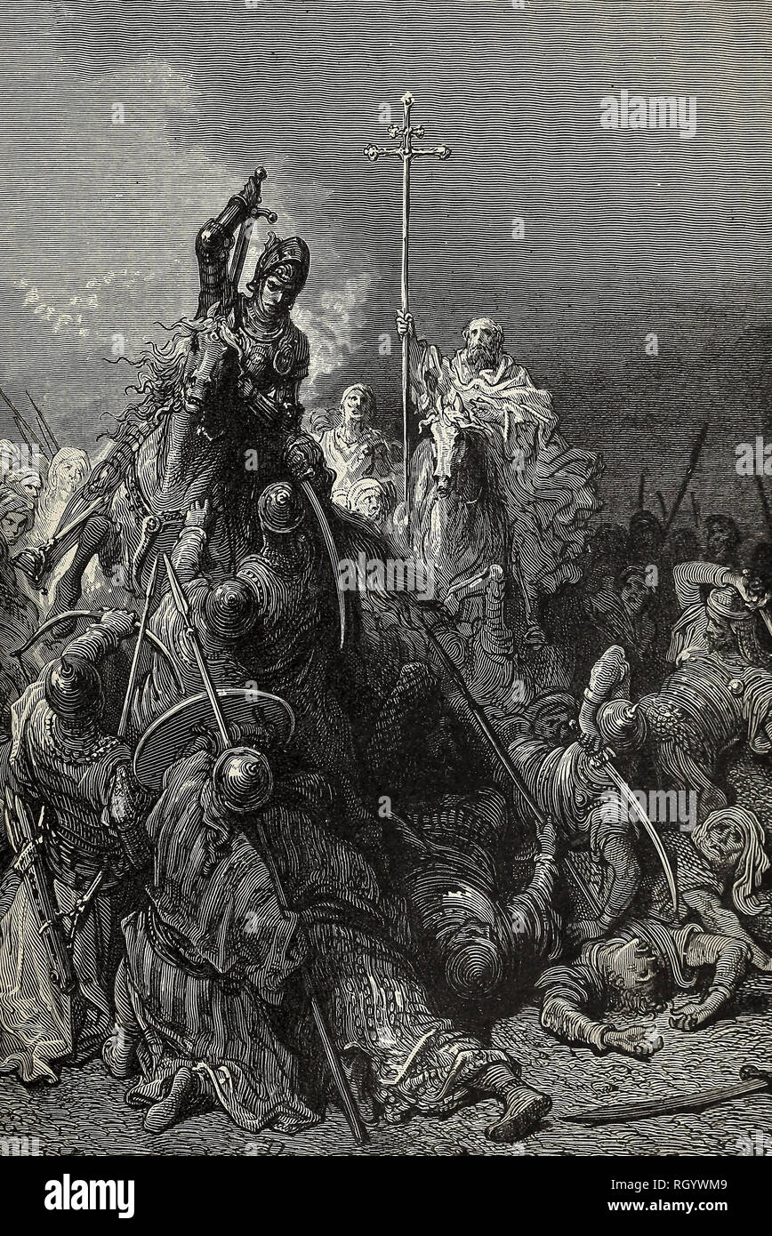 Hunyadi at Belgrade - The might warrior and the Monk Capistran lead the Peasants against the Turks - Stock Image