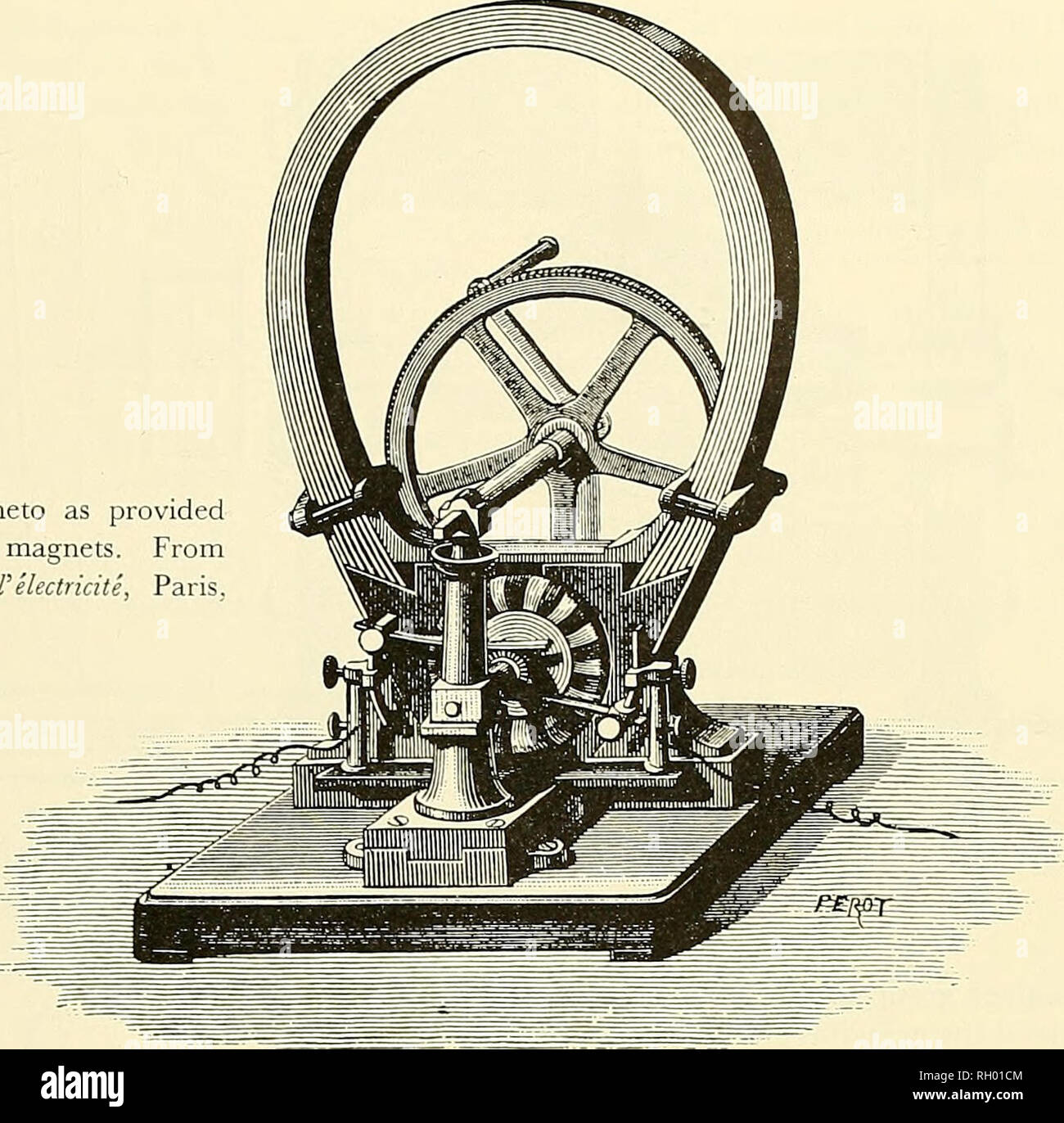 . Bulletin. Science. Figure 67.—Gramme's magneto as provided with Jamin's compound magnets. From H. Fontaine, Eclairage a I'electricite, Paris, 1877, p. 104.. 6-disk Alliance machine. The voltage was equal to that of 105 normal Bunsen cells, and the current was equal to that of 5 such cells. Roughly speaking, such power implied an efficiency of 50 percent. The cost of the machine was £400 in England. Arc-light demonstrations were made in the new Clock Tower of Parliament in London in 1873, but since the machine was quite apt to overheat the arc lights were discontinued in favor of gas.^* At th Stock Photo