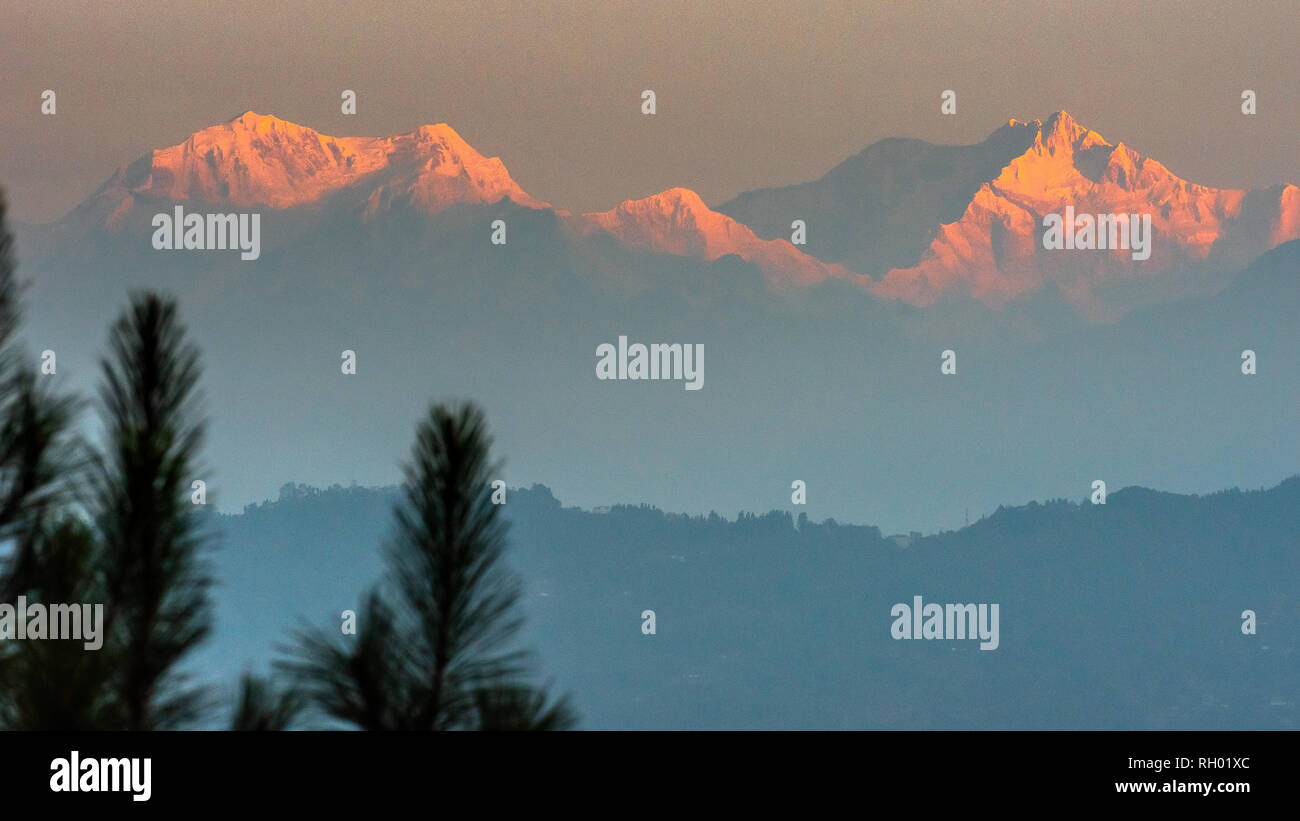 Mountain Kanchenjunga of Himalayan Range, the third highest mountain in the world. - Stock Image