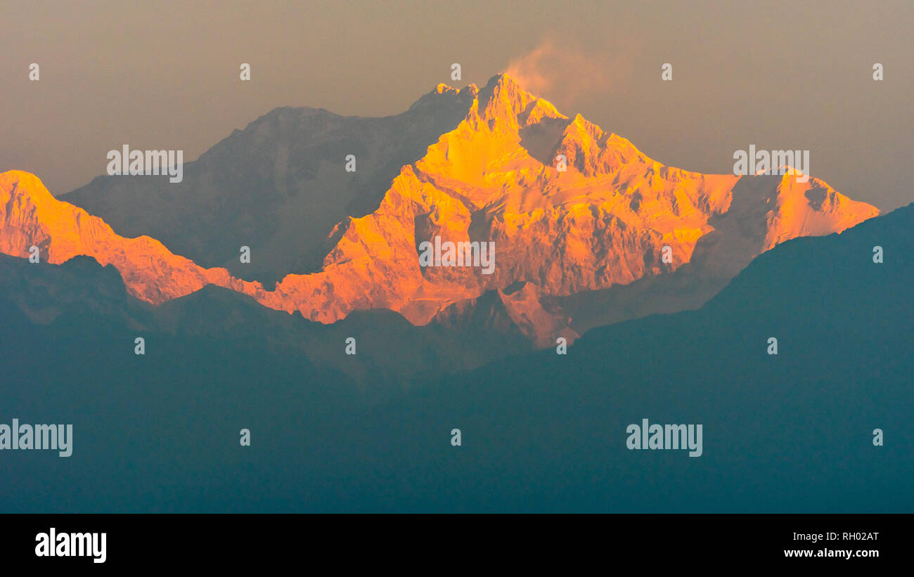 Mountain Kanchenjunga of Himalayan Range, the third highest mountain in the world. - Stock Image