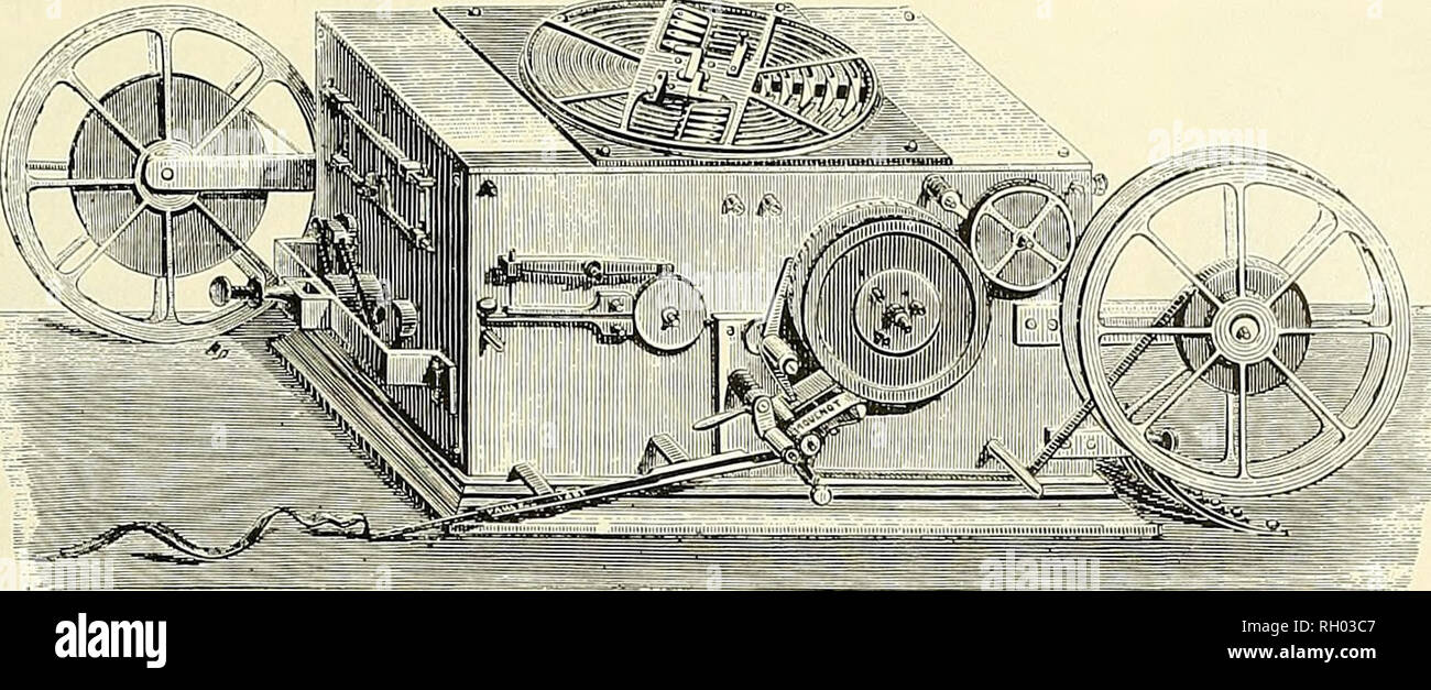 . Bulletin. Science. Figure 53.—One of the Baudot multiplex receivers, showing the distributor commutator on top of the case. From La Lumiere electrique, 1882, vol. 6, p. 128.. Please note that these images are extracted from scanned page images that may have been digitally enhanced for readability - coloration and appearance of these illustrations may not perfectly resemble the original work.. Smithsonian Institution; United States. Dept. of the Interior; United States National Museum. Washington, Smithsonian Institution Press, [etc. ]; for sale by the Supt. of Docs. , U. S. Govt Print. Off Stock Photo