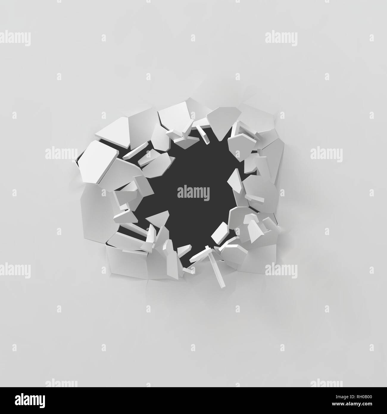 3d vector illustration of exploding white wall - Stock Vector