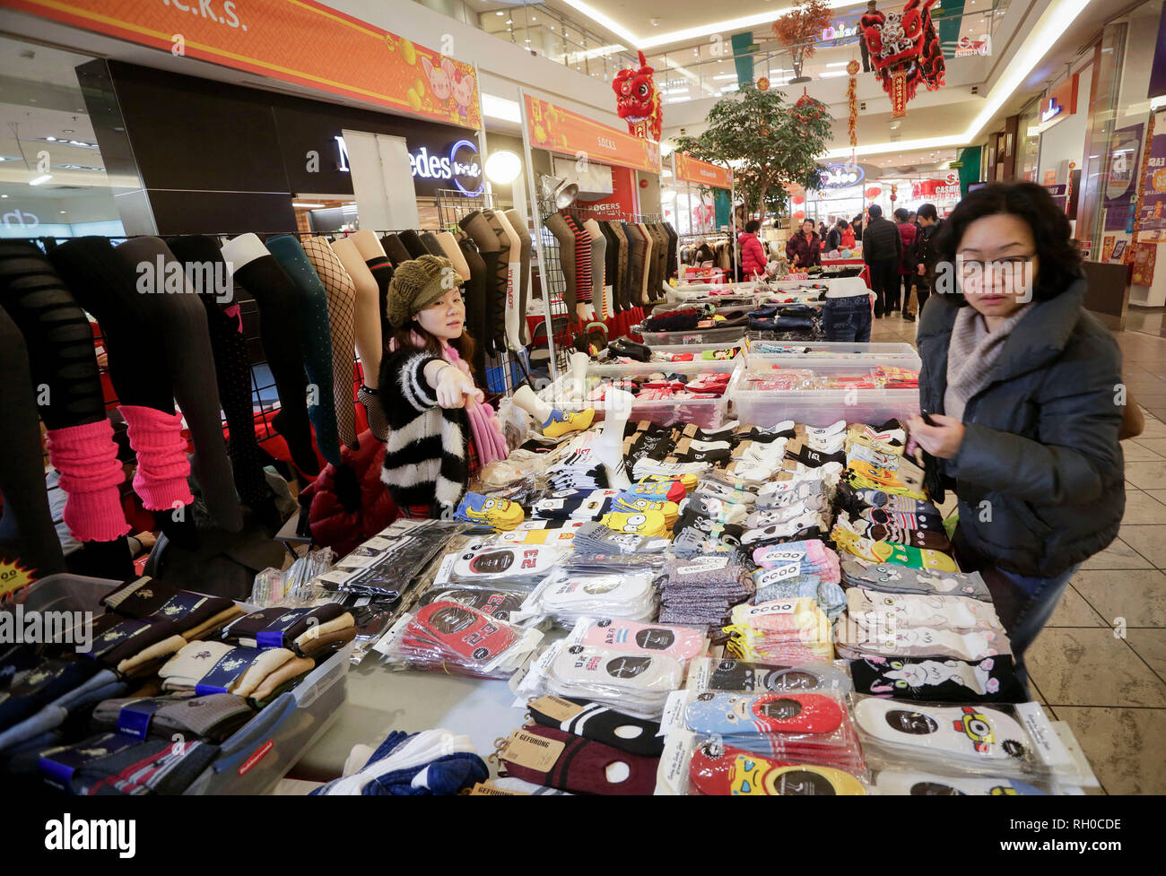 Richmond, Canada  30th Jan, 2019  A resident shops for socks while