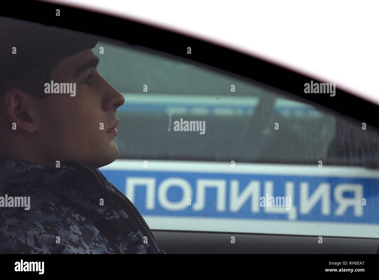 Moscow, Russia. 31st Jan, 2019. MOSCOW, RUSSIA - JANUARY 31, 2019: A serviceman behind the wheel in one of the 65 new Renault Logan company cars to be given to independent security service units of the Russian National Guard, on Moscow's Poklonnaya Hill. Vladimir Gerdo/TASS Credit: ITAR-TASS News Agency/Alamy Live News - Stock Image