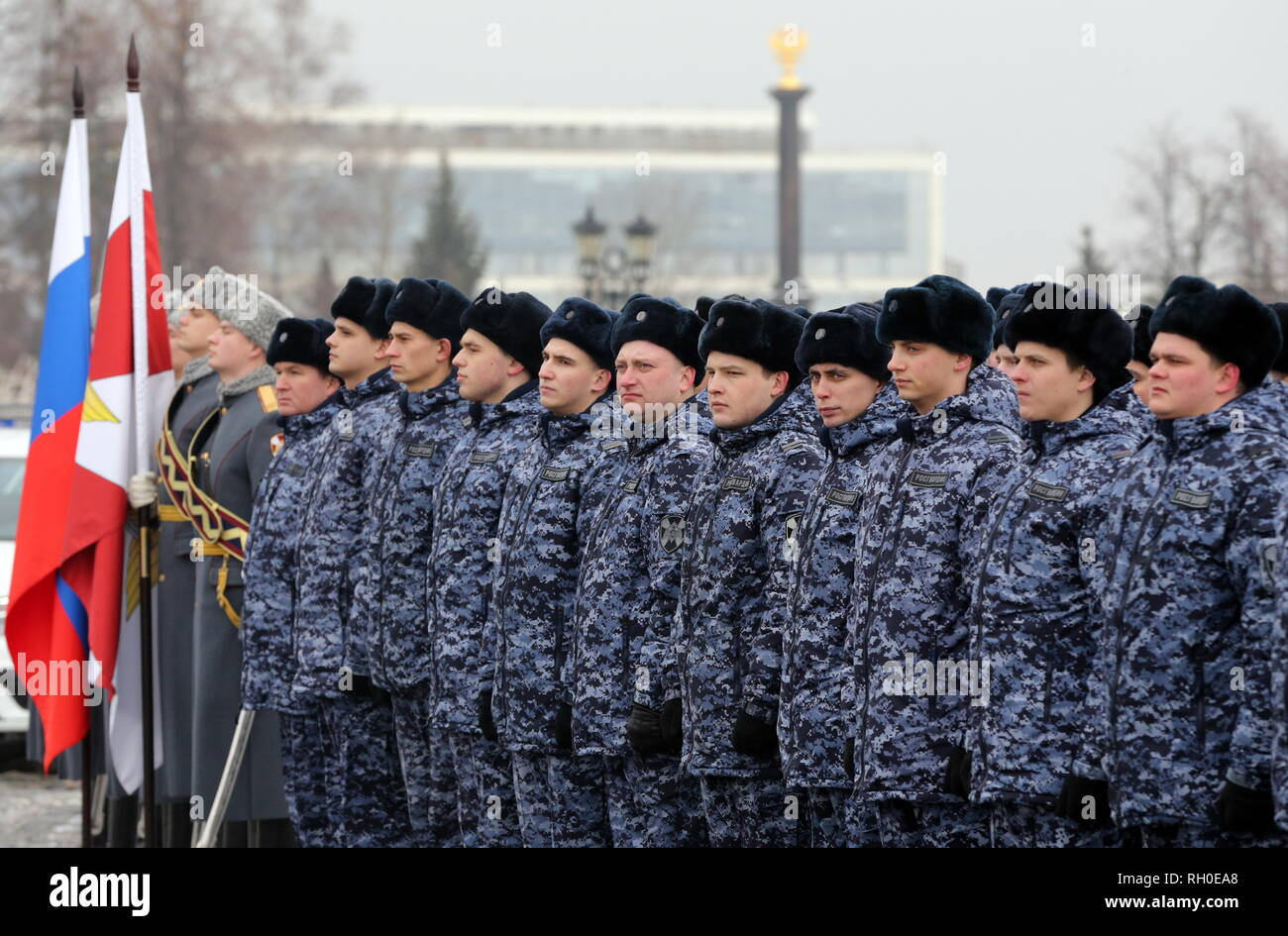 Moscow, Russia. 31st Jan, 2019. MOSCOW, RUSSIA - JANUARY 31, 2019: Servicemen attend a ceremony to give 65 new Renault Logan company cars to independent security service units of the Russian National Guard on Moscow's Poklonnaya Hill. Vladimir Gerdo/TASS Credit: ITAR-TASS News Agency/Alamy Live News - Stock Image