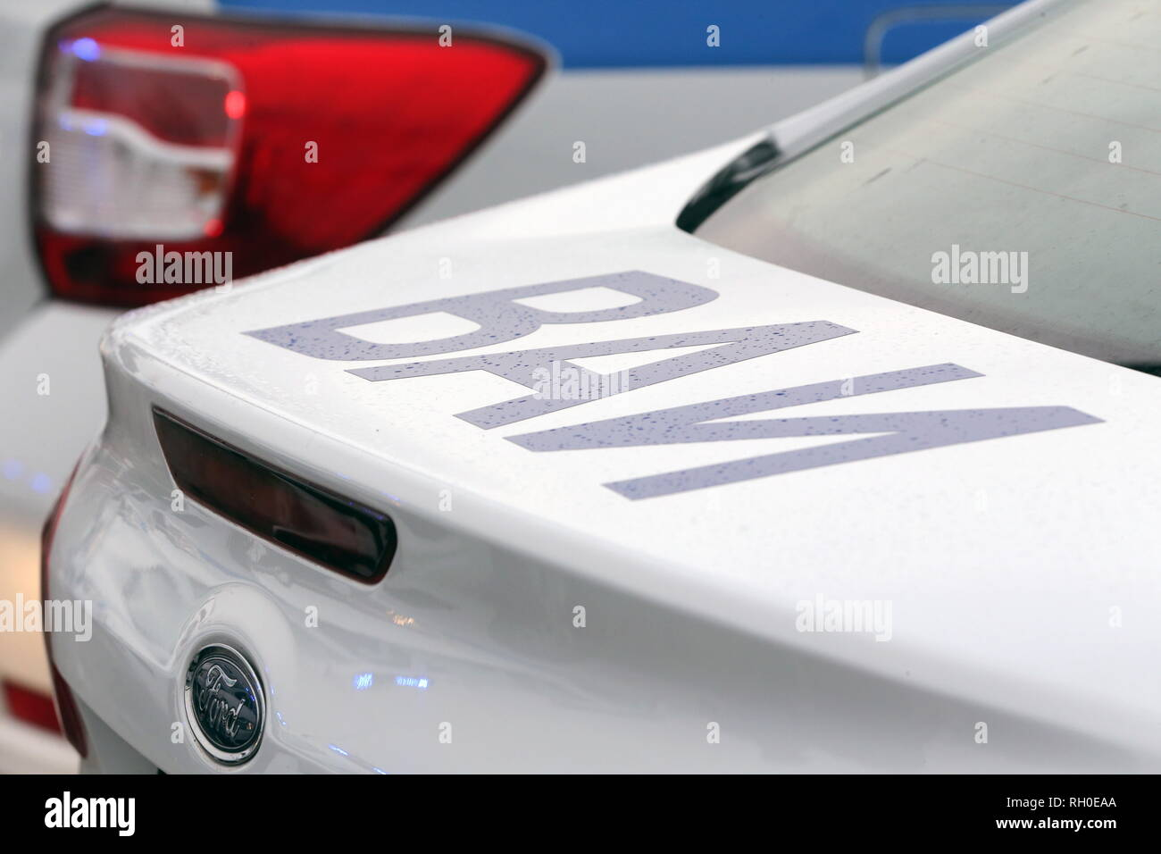Moscow, Russia. 31st Jan, 2019. MOSCOW, RUSSIA - JANUARY 31, 2019: A military police car, one of the 65 new Renault Logan company cars to be given to independent security service units of the Russian National Guard, on Moscow's Poklonnaya Hill. Vladimir Gerdo/TASS Credit: ITAR-TASS News Agency/Alamy Live News - Stock Image