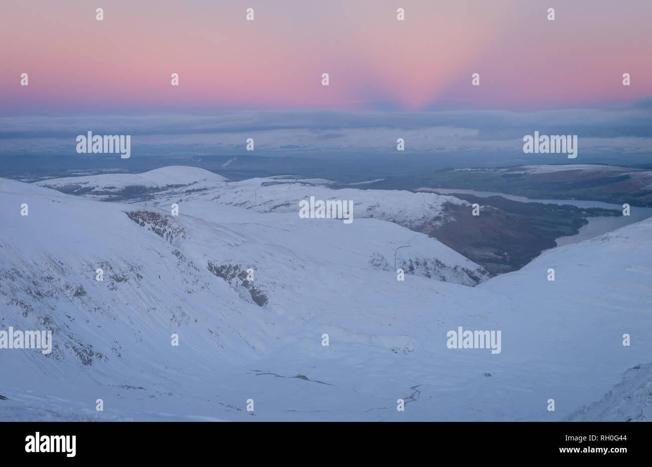 Ullswater, Lake District, UK. 30th Jan, 2019. Elusive anticrepuscular rays a twilight phenomena occurring at the antisolar point in the sky. Credit: Rafael Garea-Balado/Alamy Live News - Stock Image