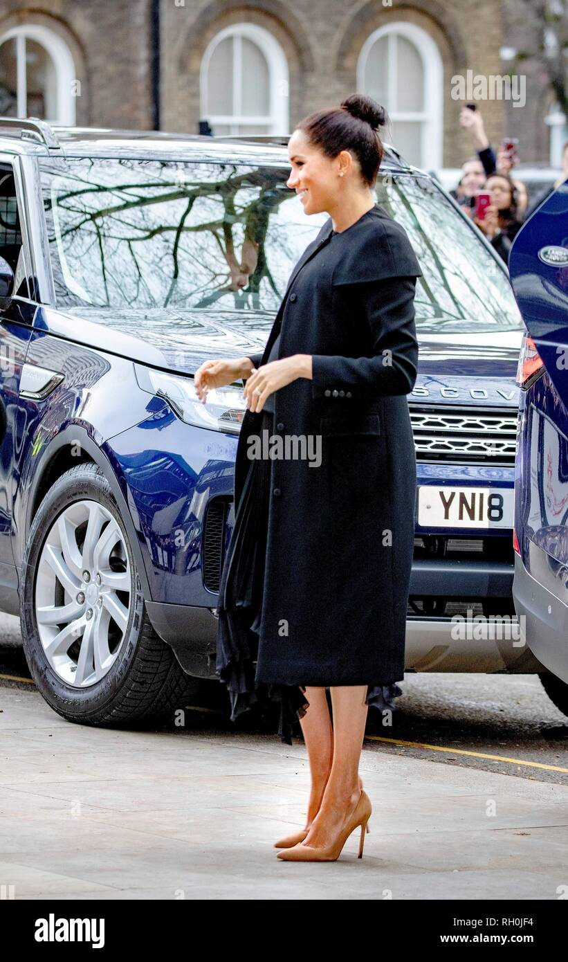 Meghan, Duchess of Sussex arrives at City University in London, on January 31, 2019, to attend an engagement with the Association of Commonwealth Universities (ACU) Photo: Albert Nieboer/ Netherlands OUT/Point de Vue OUT | - Stock Image